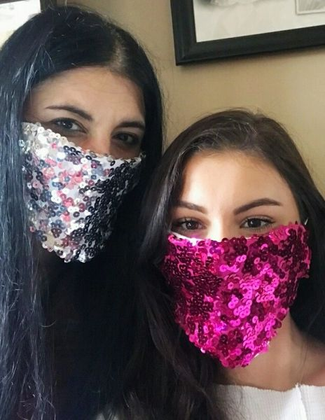 Hot Pink Sequin Fabric Face mask