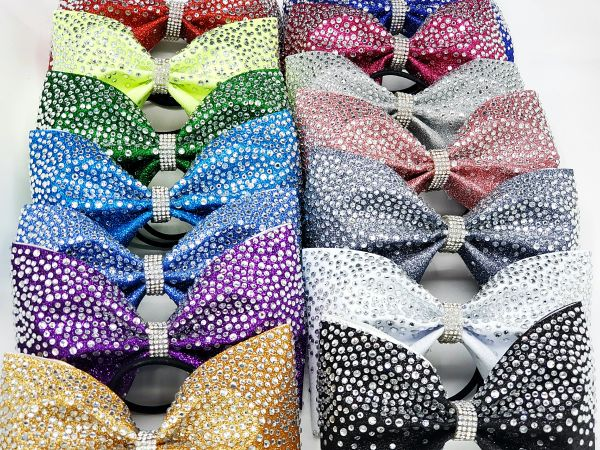 The Luna Glitter Rhinestone Tailless Cheer Bow