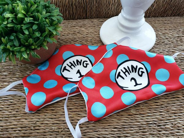 Thing 1 & Thing 2 Satin Face mask