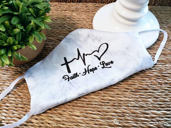 Faith Hope Love Less Satin Face mask