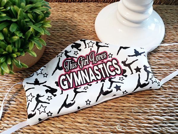 This Girls Loves Gymnastics Satin Face mask