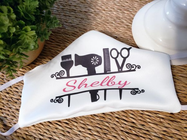 Personalized Hair Dresser Hair Stylist Satin Face mask