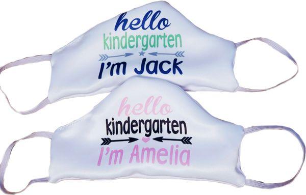 "Personalized Hello ""Grade"" Satin Face mask - kindergarten 1st grade preschool 2nd grade"