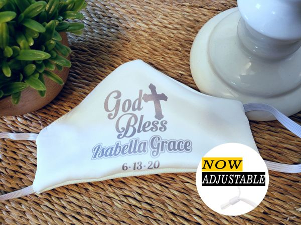 "Personalized Communion Baptism ""God Bless"" Satin Face mask - child and adult sizes"