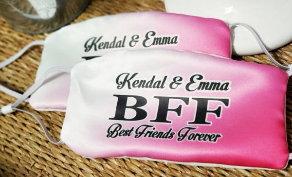 Personalized Best Friends BFF Satin Face mask Set (2 masks included)
