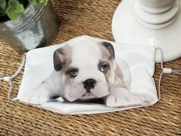 English Bulldog Puppy Satin Face mask