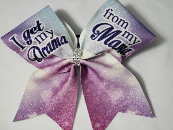 I Get My Drama from my Mama Glitter Vinyl Cheer Bow - clearance