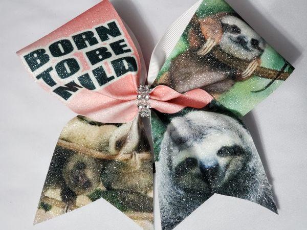 Born to be Mild Sloth Glitter Vinyl Cheer Bow - clearance