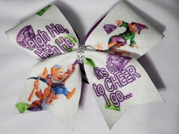 Heigh Ho Glitter Vinyl Cheer Bow - clearance