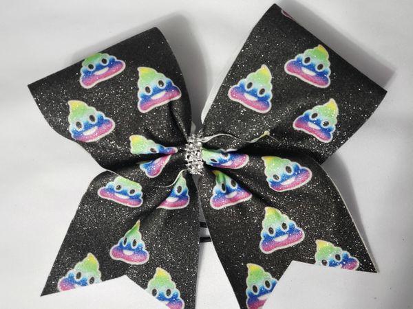 Rainbow Poop Emoji Glitter Vinyl Cheer Bow - clearance