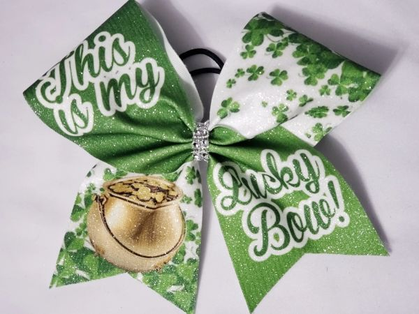 This is my Lucky Bow Glitter Vinyl Cheer Bow - clearance