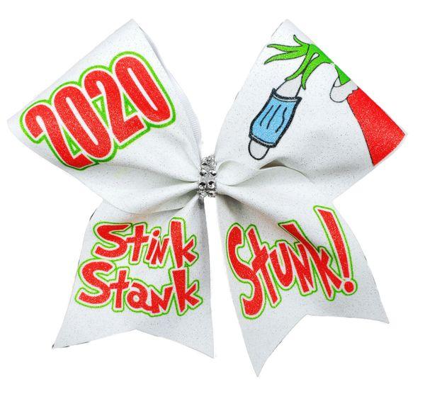 2020 Stink Stank Stunk Glitter Vinyl Cheer Bow