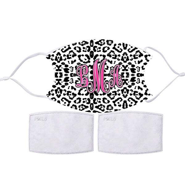 Personalized Cheetah Monogram Face mask