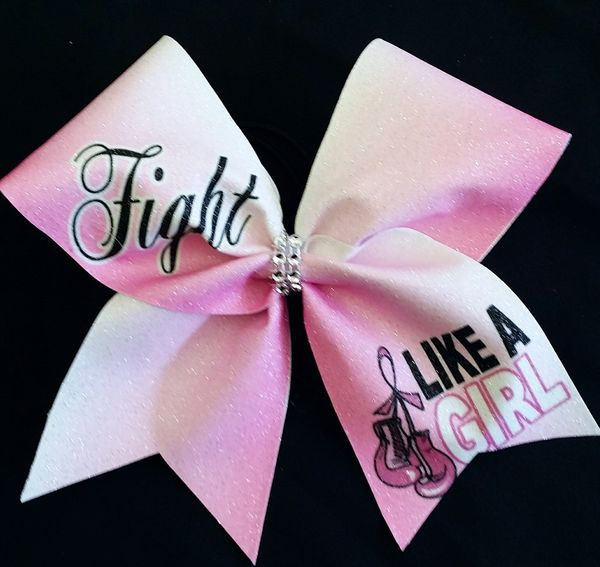Fight Like A Girl Breast Cancer Awareness Cheer Bow