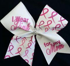 I Wear Pink For My Mom Breast Cancer Awareness Cheer Bow