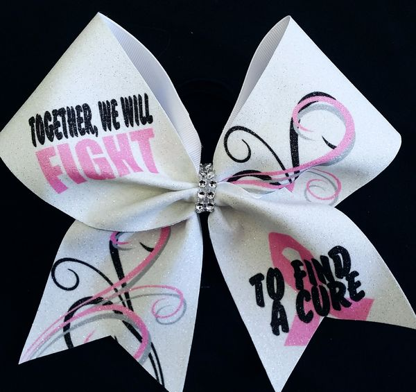 Fight To Find A Cure Breast Cancer Awareness Cheer Bow