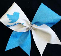Twitter Social Media Cheer Bow