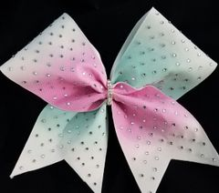 Pink & Mint Center Ombre Rhinestone Cheer Bow