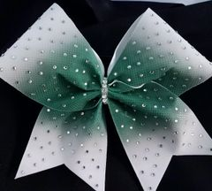 Dark Green Center Ombre Rhinestone Cheer Bow