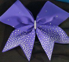 Purple Matte Rhinestone Tail Cheer Bow