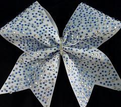 Crystal & Blue Multi Size Rhinestone Cheer Bow