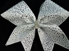 Crystal Multi Size Rhinestone White Matte Fabric Cheer Bow