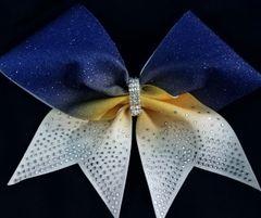 Royal Yellow Gold White Rhinestone Tail Glitter Cheer Bow