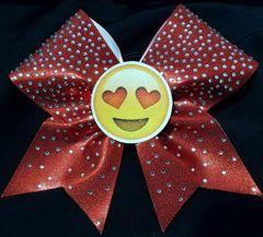 3D Heart Eyes Emoji Rhinestone Cheer Bow