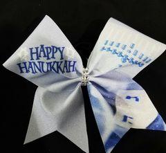 Happy Hanukkah Glitter Cheer Bow