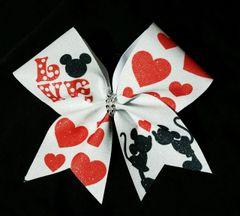 Mickey Minnie LOVE Glitter Cheer Bow