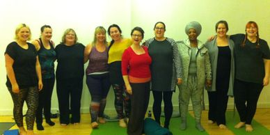Beautiful Women at a Curvy Girl Yoga Class