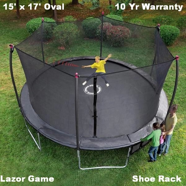 17' x 15' FOOT OVAL TRAMPOLINE & SAFETY NET ENCLOSURE COMBO, INDUSTRIAL GRADE, COMES WITH ELECTRONIC LASER SHOOTING GAME, 10 YR WARRANTY, GOOD FOR ADULTS OR KIDS, SHIPPING AVAILABLE