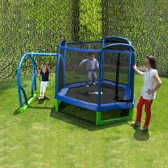 7' FOOT MY FIRST TRAMPOLINE & SAFETY NET ENCLOSURE JUMP & SWING SET COMBO,GOOD FOR INDOORS & OUTDOORS USE