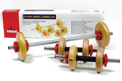YORK BARBELL V22 VINYL BARBELL/DUMBELL SET, ITEM #1251