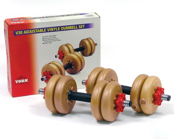 YORK BARBELL V30 SPINLOCK VINYL BARBELL/DUMBELL SET, ITEM #1152