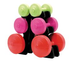 YORK V36 3 DIFFERENT COLOURS VINYL DUMBELL SET WITH STAND ITEM# 1254
