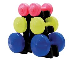 YORK V36 3 DIFFERENT COLOUR VINYL DUMBELL SET, WITH STAND, ITEM# 1258