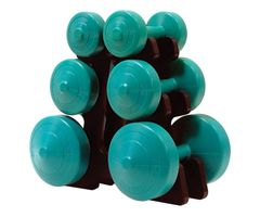 YORK V36 TEAL GREEN VINYL DUMBELL SET WITH STAND ITEM# 1267