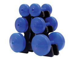 YORK V36 BLUE VINYL DUMBELL SET WITH STAND ITEM #1264
