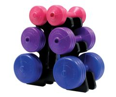YORK V36 PINK, MAUVE, BLUE VINYL DUMBELL SET WITH STAND ITEM# 1261