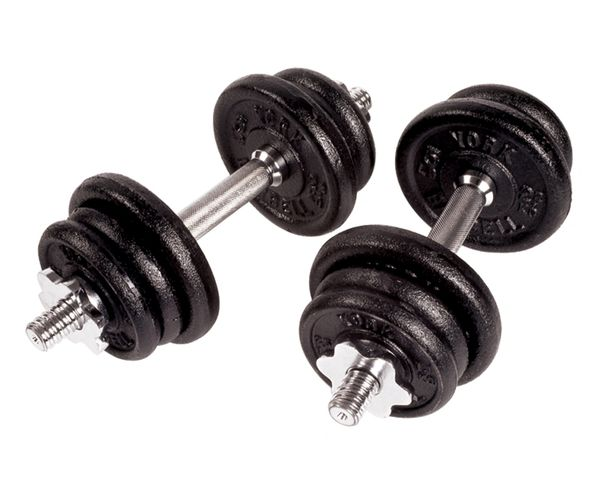 "YORK 1"" CAST IRON ADJUSTABLE SPINLOCK DUMBELL SETS,30lb, 50lb, 70lb, 90lb, ITEM #2111, 2113, 2115, 2116"