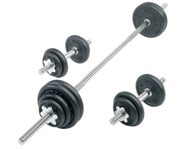 "YORK 1"" 110 LB PRO CAST IRON SPINLOCK BARBELL/DUMBELL SET ITEM #2022"