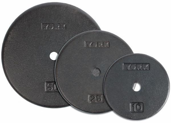 "YORK 1"" FLAT CAST IRON PRO PLATES, SIZES AVAILABLE, 1.25LB, 2.5LB, 5LB, 7.5LB, 10LB, 25LB, 50LB"