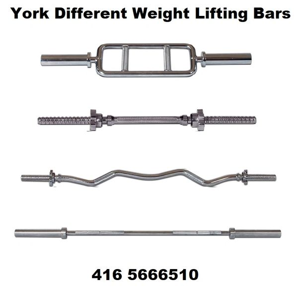 "YORK 1"" TRICEP, CURL & STRAIGHT, WEIGHT LIFTING BARS, SIZES 34"", 4' FT, 54"", 5' FT, 5 1/2 FT, 6' FT, 7' FT"