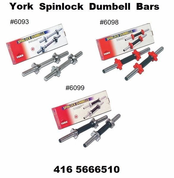"YORK 1"" DUMBELL 14"" & 15"" WEIGHT LIFTING BARS, SIZES 14"" & 15"" LONG ITEM #6063, 6098, 6099"