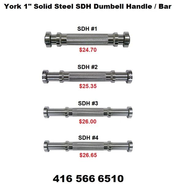 "YORK 1"" SOLID STEEL SDH (SHORT DUMBELL HANDLES / BARS), SIZES 20LBS TO 140LBS, ITEM #3251, 3252, 3253, 3254, 3255, 3256, 3257, 3258"