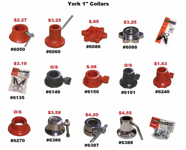 "YORK 1"" BARBELL & DUMBELL CHROME, STEEL, VINYL, OUTER, INNER, CLIP COLLARS"