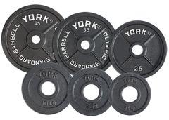 """YORK 2"""" STANDARD OLYMPIC WEIGHT PLATES, 2.5LB, 5LB, 10LB, 25LB, 35LB, 45LB, ITEM # 7350, 7351, 7352, 7353, 7354, 7355"""