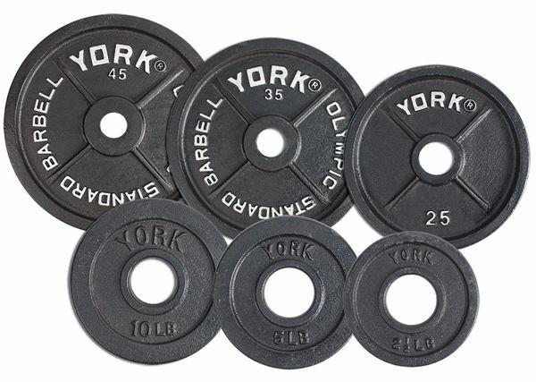 "YORK 2"" STANDARD OLYMPIC WEIGHT PLATES, 2.5LB, 5LB, 10LB, 25LB, 35LB, 45LB, ITEM # 7350, 7351, 7352, 7353, 7354, 7355, 14 Feb 2021 Still Available."