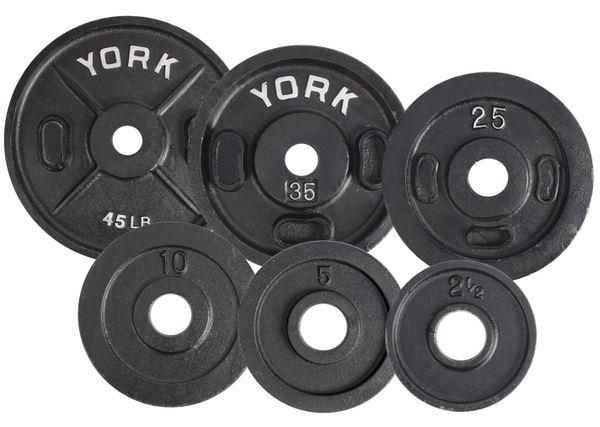 """YORK 2"""" CALIBRATED OLYMPIC WEIGHT PLATES LB, 2.5LB, 5LB, 10LB, 25LB, 35LB, 45LB, ITEM # 2907, 2908, 2909, 2910, 2911, 2912"""